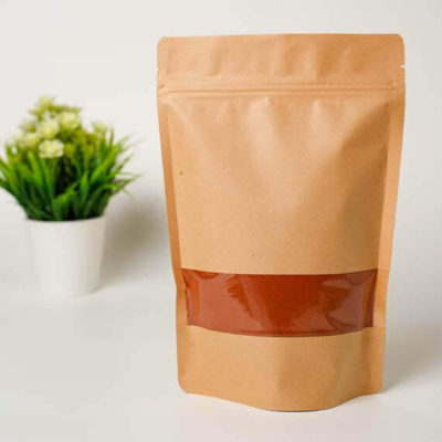 Kraft Paper Stand Up Pouch With Zipper & Full Rectangle Window 2