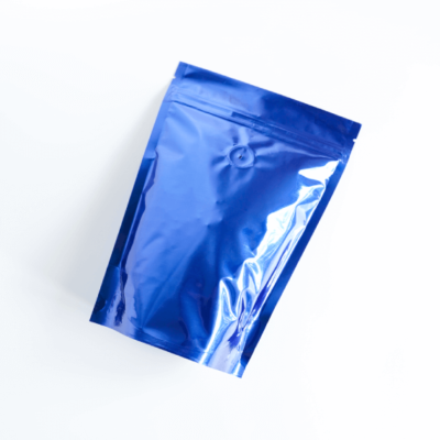 Shiny Blue Stand Up Pouch With Zipper And Valve 1