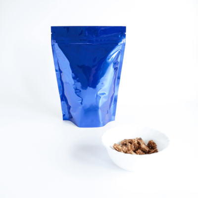 Shiny Blue Stand Up Pouch with Zipper 2