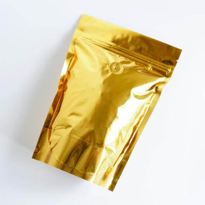 Shiny Gold Stand Up Pouch With Zipper And Valve 1