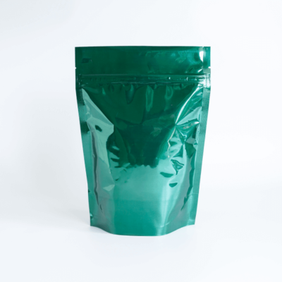 Shiny Green Stand Up Pouch With Zipper 1
