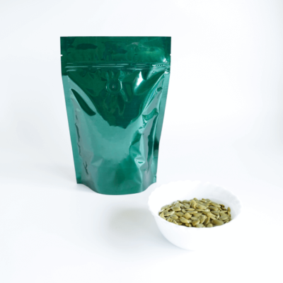 Shiny Green Stand Up Pouch With Zipper And Valve 2