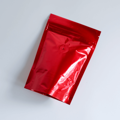 Shiny Red Stand Up Pouch With Zipper And Valve 1