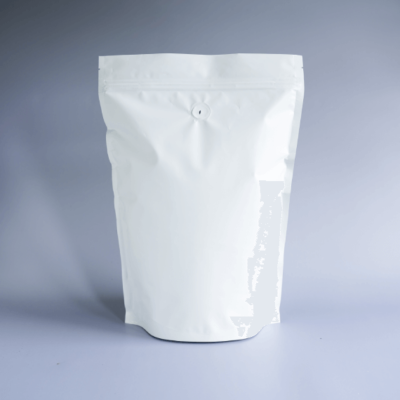Shiny White Stand Up Pouch With Zipper And Valve